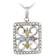 "925 Silver 1/2ct Multi-Gemstone  & Diamond Accent Filigree Flower Necklace, 18"""