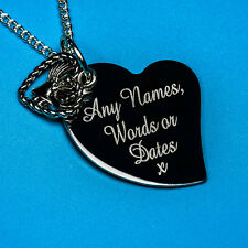 Personalised Fantastic Angel in Heart Antique Silver Name Charm Pendant Necklace