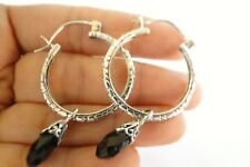 Black Onyx Dangle Drop Hoop 925 Sterling Silver Earrings.925