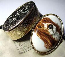 Sweet Vintage Enamel Porcelain Springer Spaniel Dog Jewellery Trinket PILL BOX