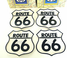 "ROUTE 66 PLATES Set of 4 Ceramic 7"" RT 66 Shield Shape Fitz & Floyd OCI 1994 NOS"