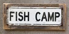 Fish Camp Fishing Penobscot Kennebec River Maine Vintage Metal Sign Cabin Decor