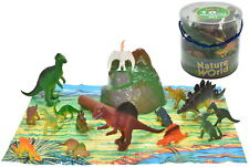 18 Toy Dinosaurs in Tub With Dinosaur Playmat