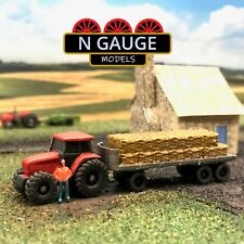 More details for n scale gauge tractor & bale trailer 1:148 haulage country farm 1:160