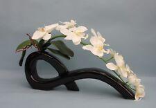 Handmade Soie Artificielle Crème Mite Orchidée dans un nœud noir vase-Mariages cadeaux