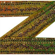 Vintage Sari Border Antique Hand Beaded Trim Decor Multi color Kundan Lace 2Yd