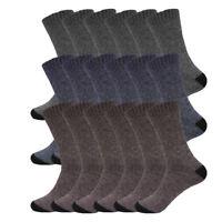 (6 pairs) Men's Boot Warm Socks Herringbone Navy Brown Gray