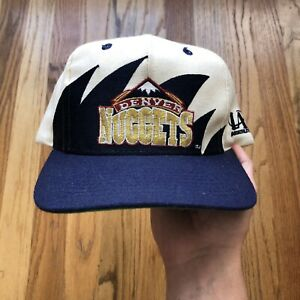 Men's Vintage 90's Logo Athletic Denver Nuggets Sharktooth NBA Snapback Hat Cap
