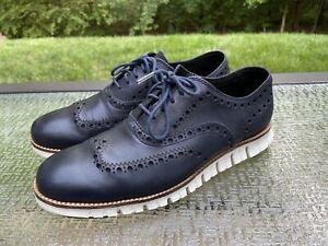 Cole Haan ZeroGrand Men's Size 7.5 Blazer Blue Oxford Wingtips Stitchless Shoes