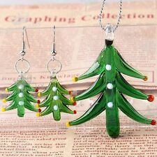 Murano Lampwork Glass Green Christmas Tree Pendant For Necklace Earring