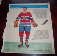 Gilles Tremblay La Patrie Du Dimanche photo Montreal Canadians 1961-62