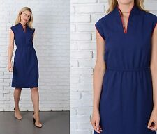 Vintage 70s Navy Blue dress Red Linen A Line knee length Sleeveless Mod  S