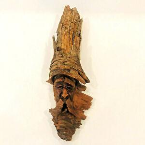 Vtg Hand Carved Signed Wood Spirit Old Man Face Tree Driftwood Sculpture '81 A2