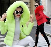 Winter Women Down Cotton short Jacket Slim Big Fur Collar warm Hooded Coat Parka