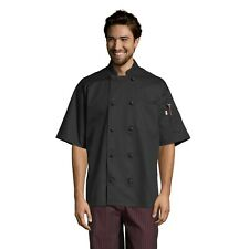 Monterey chef coat, short sleeve, Black, Xs to 3Xl, 0484 Free Shipping