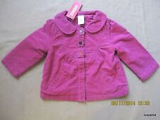 Gymboree All About Buttons Corduroy Jacket Top Coat Flower Button Pink 3-3T NWT