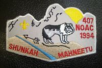 OA SHUNKAH MAHNEETU 407 GRAND TETON SCOUT PATCH WHITE BRDR NOAC 1994 FLAP