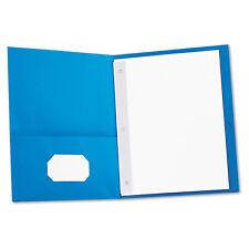 Universal Two-Pocket Portfolios w/Tang Fasteners 11 x 8-1/2 Light Blue 25/Box