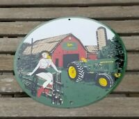 VINTAGE JOHN DEERE PORCELAIN FARM TRACTOR IMPLEMENTS BARN SALES SERVICE SIGN