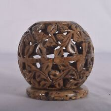 "3"" Handmade Stone tealight Candle Holder Floral Carving Globe Shape Home Decor"