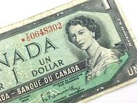 1954 Canada 1 Dollar Circulated IO Replacement Beattie Rasminsky Banknote R238