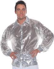 Morris Costumes Adult Men's Retro 1970s Sequin Shirt Silver One Size . UR29182