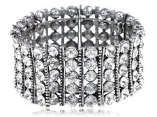 Chunky Silvery Shiny Crystal Rhinestone Fashion Bracelet Bangle Cuff Party Gift