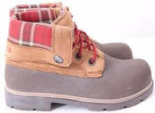 Crocs 11443 Cobbler Plaid Lined Foldover Lace Up Ankle Boots Junior Youth US 2