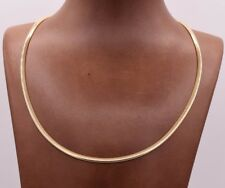 3mm Italian Reversible Omega Chain Necklace 14K Yellow Gold Clad Silver 925