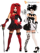 Ladies Harlequin Costume Tricksterina Jester Clown Costume Halloween Fancy Dress