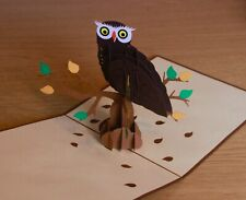 3D Pop Up Owl Card, Any Occasion, Good Quality, Laser-Cut, Handmade