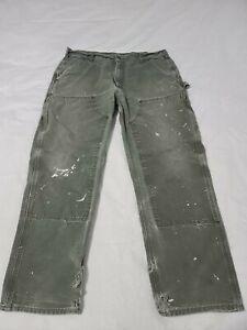 USA Carhartt B01 MOS Green Duck Double Knee Distressed Work Pants 38 X 30  M7300