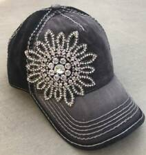 Olive & Pique NWT Rhinestone Flower Contrast Bling Baseball Hat