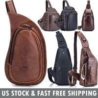 Vintage Genuine Leather Mens Sling Bag Chest Bag Crossbody Shoulder Bag Backpack