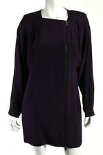 GUCCI Eggplant Purple Silk Exposed Zip Front Batwing Shift Dress 44