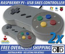 2x Super Nintendo SNES USB Controller GAME PAD For PC Mac Raspberry Pi Retropie