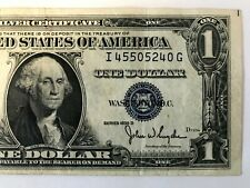 1935 D Series $1 One Dollar Silver Certificate US Note Blue Seal  S/N I45505240G