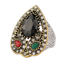 Vintage Men's Woman Gold plated Inlaid Black Stone Crystal Female Ring Size 9
