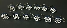 12 Navy Blue & White Flowers Painted Resin Metal Shower Curtain Hooks