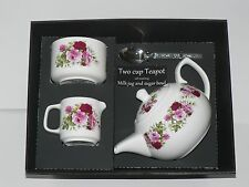 Pink rose 2 cup teapot,Milk & Sugar gift boxed. Teapot, matching milk and sugar