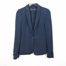 Zara Basic Womens XS Navy Blue Polka Dot Blazer Jacket Single Button