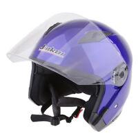 Dual Visors Motorcycle Bike 3/4 Jet Open Face Helmet Full Shield Blue L