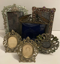 New ListingLot of 6 Vintage Jeweled, Gold Mixed Size Picture Frames