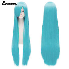 Blonde Long Straight Synthetic Wig With Bangs Pink Blue Cosplay Wig for Women