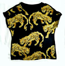 Gold Leopard And Floral Print Silk Top