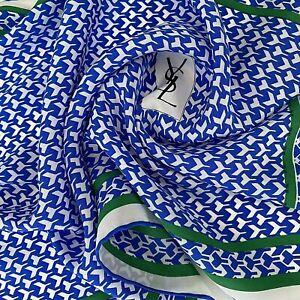 Vintage YSL Yves Saint Laurent Logo Y Print Long Silk Striped Rectangular Scarf