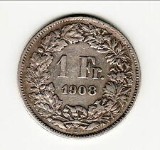 SUISSE RARETTB + 1 FRANC 1908 B