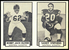 1962 TOPPS CFL FOOTBALL 92 BOBBY OLIVER & 93 SANDY STEPHENS ALOUETTES NM PANEL