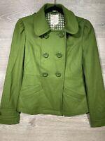 Woman's Tulle wool peacoat sz XS Green Pre Owned Vintage Look