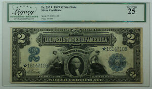 1899 $2 Two Dollar **STAR NOTE** Silver Certificate Fr. 257* Legacy VF-25